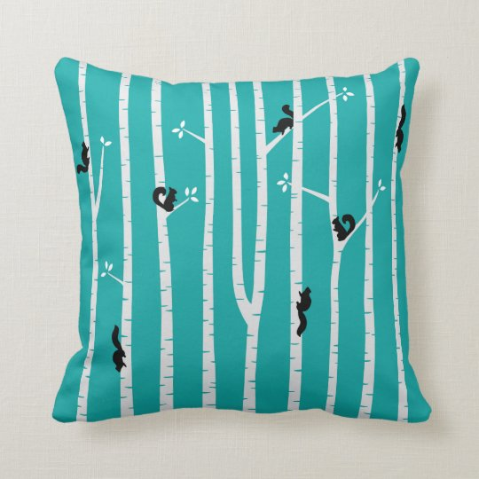 Black Squirrels Climbing Birch Trees on Aqua Throw Pillow