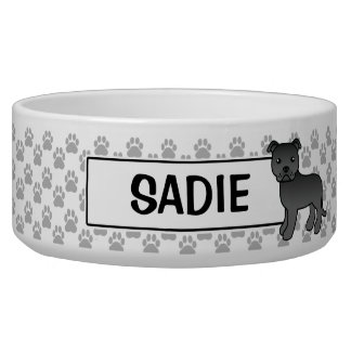 Black Staffordshire Bull Terrier And Name Pet Water Bowl