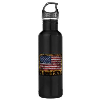 Black Stainless Steel Veteran's Water Bottle