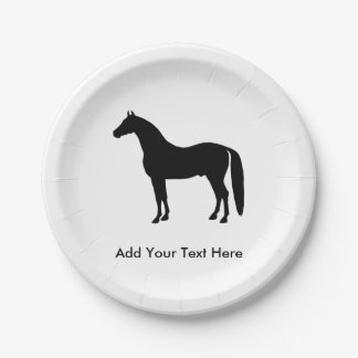 Black Stallion Elegant Horse Silhouette Drawing Paper Plate