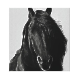 Black stallion profile in fractal canvas print