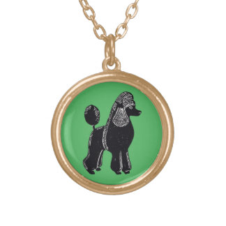 Black Standard Poodle Green Necklace