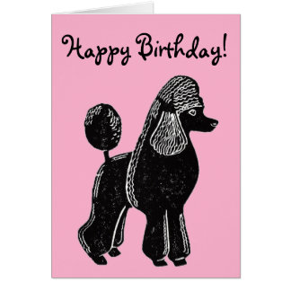 Black Standard Poodle Pink Happy Birthday Card