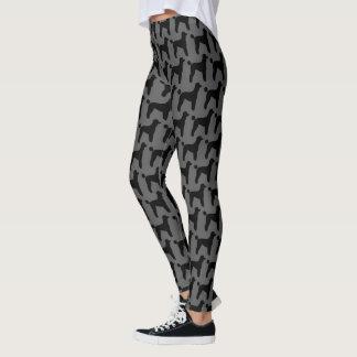 Black Standard Poodle Silhouettes Pattern Leggings