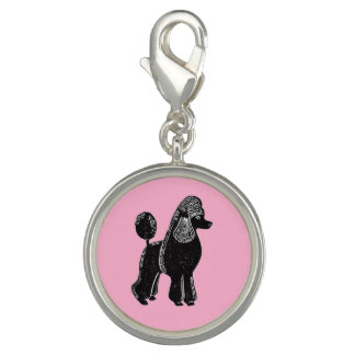 Black Standard Poodle with Pink Charm