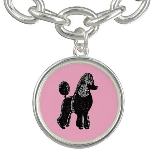 Black Standard Poodle with Pink Charm Bracelet