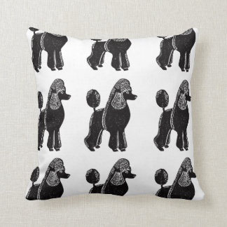 Black Standard Poodles Square Pillow