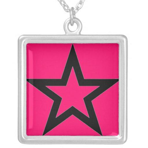 Black Star on Pink Necklace