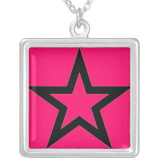 Black Star on Pink Necklace