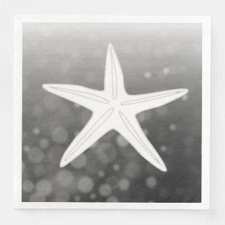 Black Starfish Beach Themed Wedding Napkins