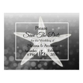 Black Starfish Beach Themed Wedding Save the Date Postcard