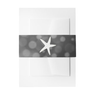 Black Starfish Bubbles Wedding Belly Bands Invitation Belly Band