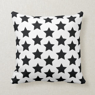 Black Stars, Modern Monochrome Stylish Cushion. Throw Pillow