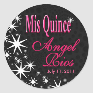 """Black Stars Quinceañera"" Party (black/fuschia) Classic Round Sticker"