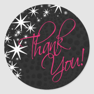 Black Stars Quinceañera Thank You (black/fuschia) Classic Round Sticker
