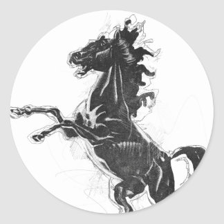 Black Steed Classic Round Sticker