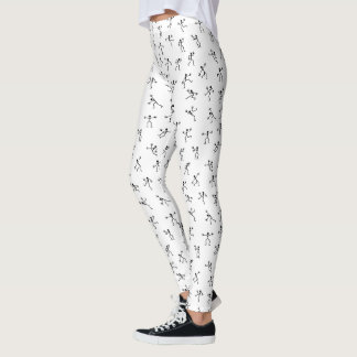 Black Stickmen in Action Seamless Pattern Leggings