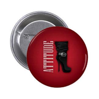 Black Stiletto boots with Attitude 2 Inch Round Button