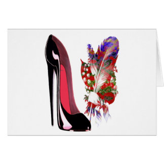 Black Stiletto High Heel Shoe and Bouquet Card