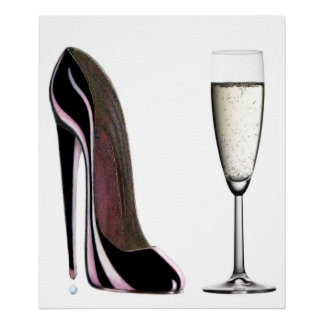 Black Stiletto Shoe and Champagne Print