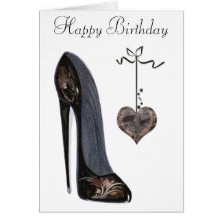 Black Stiletto Shoe and Heart Art Card