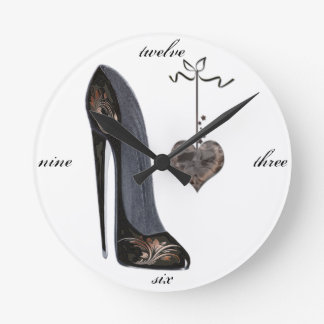 Black Stiletto Shoe and Heart Art Round Clock