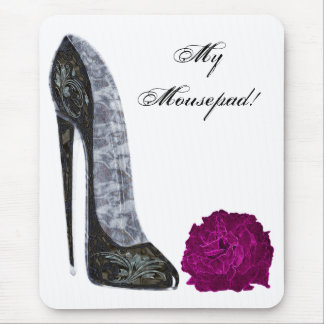 Black Stiletto Shoe and Red Rose Art Mouse Pad