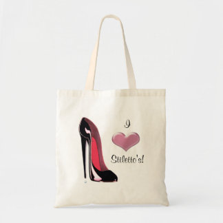 Black Stiletto Shoe Art Tote Bag