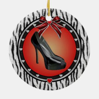 Black Stiletto Zebra Print Ornament