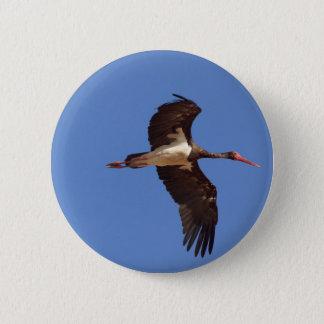 Black stork (Ciconia nigra) in flight 2 Inch Round Button