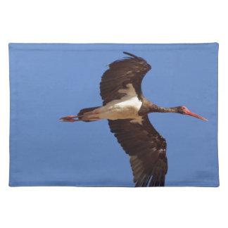Black stork (Ciconia nigra) in flight Placemat