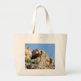 Black stork (Ciconia nigra) on a rock. Large Tote Bag