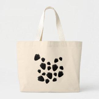 Black strawberries large tote bag