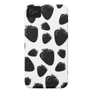 Black strawberries  pattern iPhone 4 Case-Mate cases