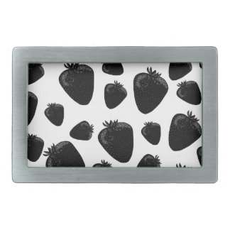 Black strawberries  pattern rectangular belt buckle
