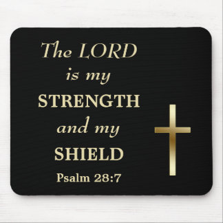 Black Strength and Shield Gold Cross Mouse Pad