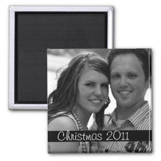 Black Strip Christmas Holiday Photo Magnet