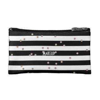 Black Stripe and Gold Confetti Cosmetic Bag