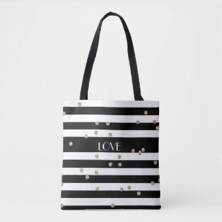 Black Stripe and Gold Confetti Tote Bag