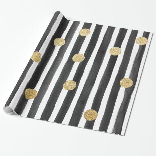 Black Stripe and Gold Polka Dot Wrapping Paper