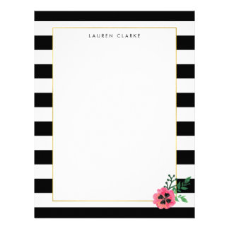 Black Stripe and Pink Floral Personalized Letterhead
