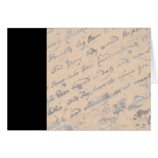 Black Stripe and Silvery words notecard