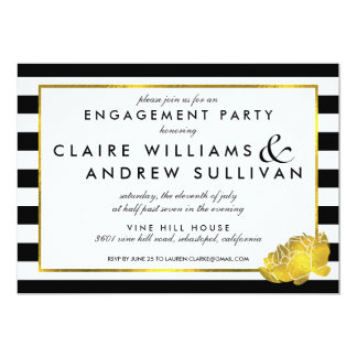 Black Stripe & Faux Gold Peony Engagement Party Card
