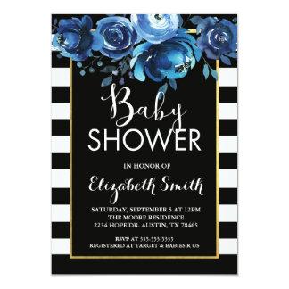 Black Stripe Floral Baby Shower Invitation