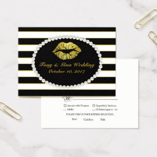 Black Stripe & Gold Lip Print Wedding RSVP Card