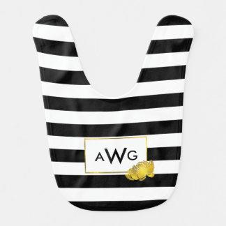 Black Stripe & Gold Peony Monogram Baby Bib