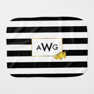 Black Stripe & Gold Peony Monogram Burp Cloth