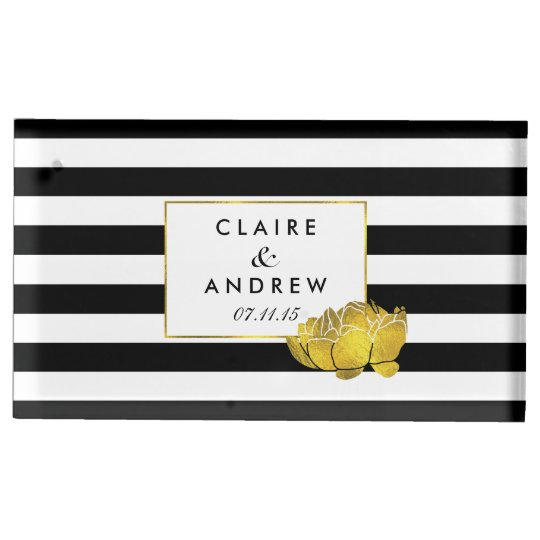 Black Stripe Gold Peony Wedding Table Card Stand Table Card Holder