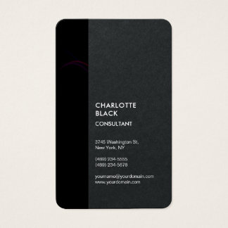 Black Stripe Minimalist Modern Stylish Simple Business Card