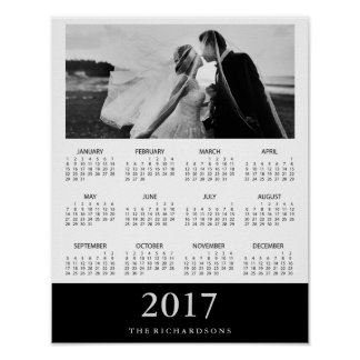 Black Stripe | Modern Minimal 2017 Photo Calendar Poster